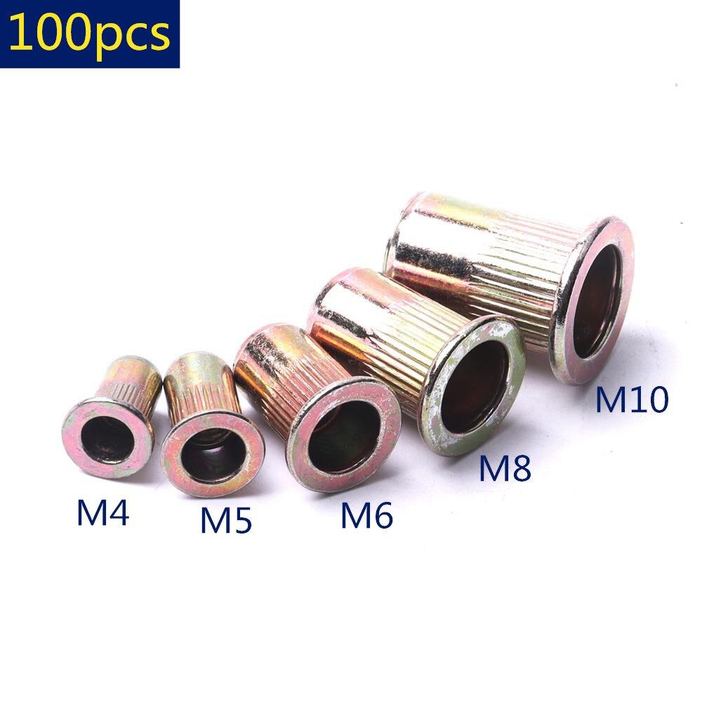 100 peças zinco chapeado porcas de rebite de aço carbono m4 m5 m6 m8 m10 serrilhadas porcas cabeça plana rebite rosqueado para ferramentas de prendedores de ferragem