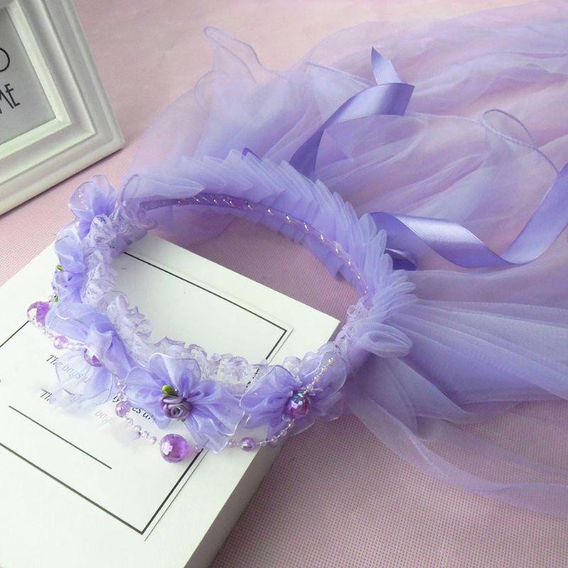 Niños Niñas banda para el pelo princesa capas dobles tul velos flores guirnalda volantes Floral encaje satén lazo Up cinta