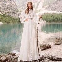 vestidos sexy wedding dresses chiffon appliques pleat high collar full sleeve zipper a line bridal gowns novia do