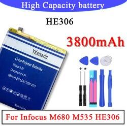 Bateria de alta capacidade de 3800 mah para infocus m680 m535 he306 he306 telefone inteligente li-polímero bateria poderosa + número de rastreamento