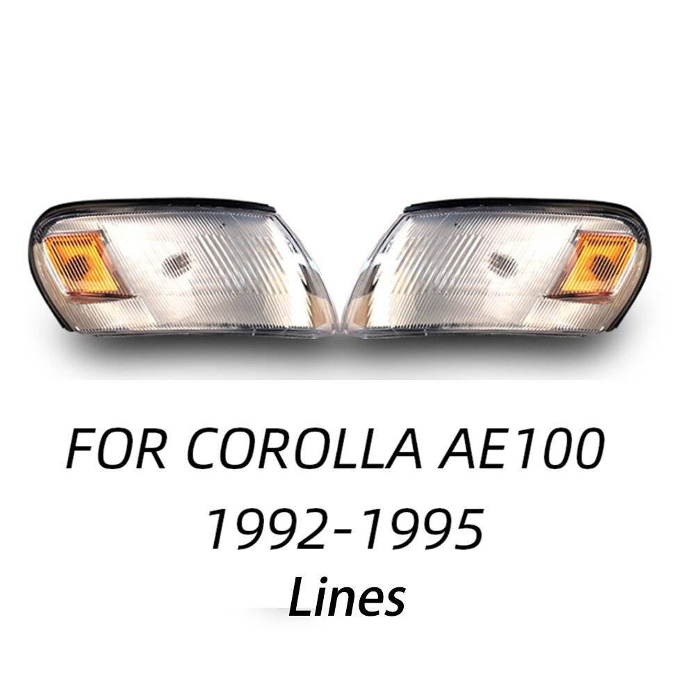 Um par frente turn signal lâmpada de luz para toyota corolla ae100 ae104 1993 1994 1995 1996 1997 cristal e linhas