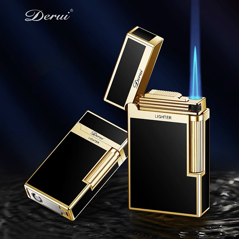 New Windproof Business Gas Inflated Lighter Jet PING Bright Sound Pipe Cigar Torch Lighter Compact B