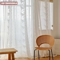 warp knitted curtains for living dining room bedroom lace impenetrable french lace window screening white gauze blackout curtain
