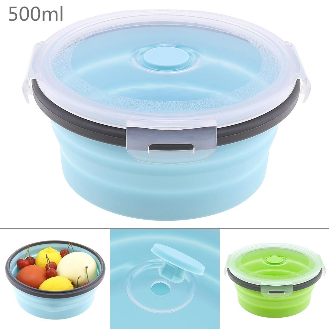500ML Portable Circular Silicone Scalable Folding Lunchbox Bento Box with Silicone Sealing Plug for - 40~230 Centigrade