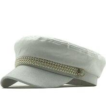 2020 Fashion cotton hat cap women casual pearl flat cap elegant solid autumn winter warm wool beret hat female