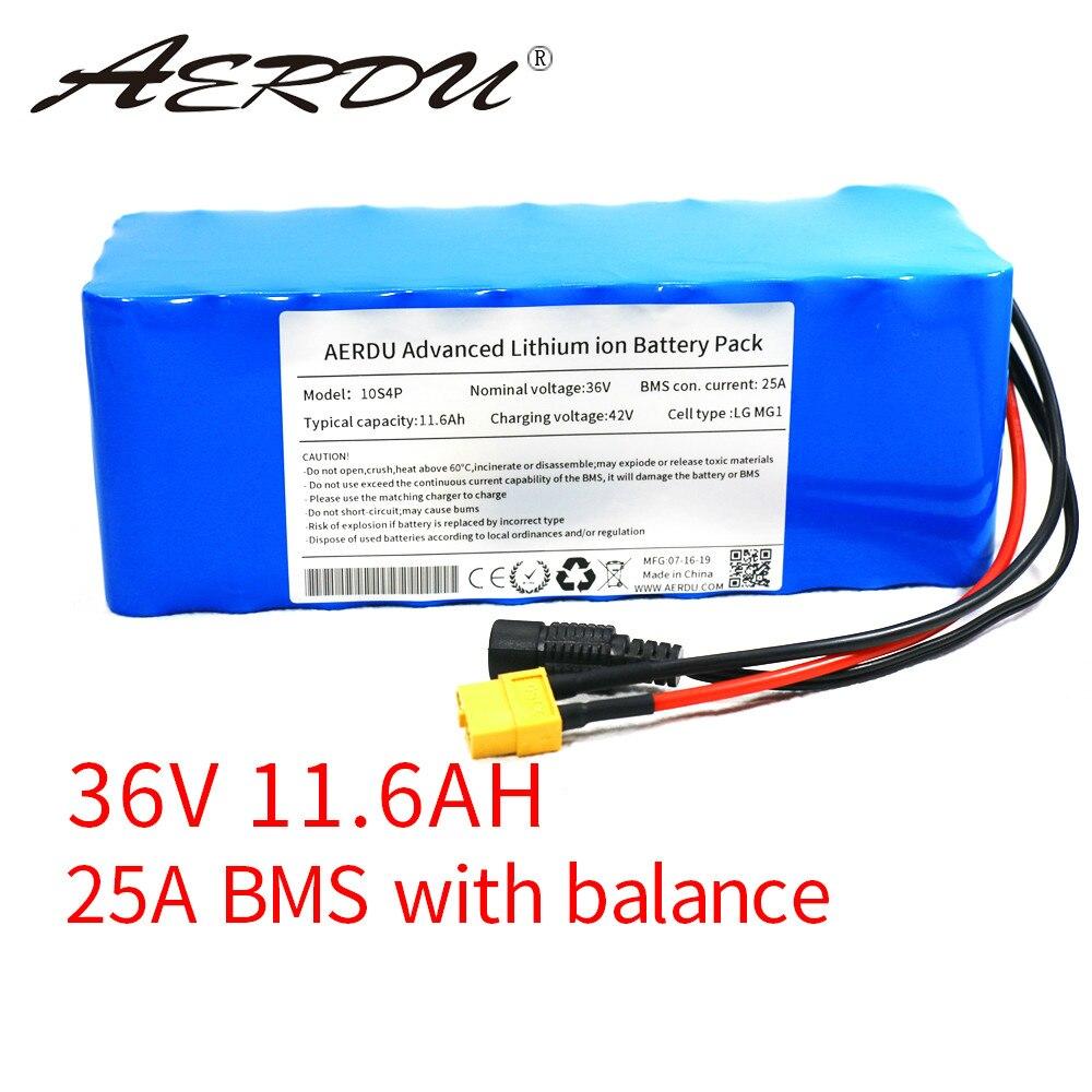 AERDU 36V 11.6Ah para LG MG1 12ah 750W 600W 500W 450W 350w 250W 37V Paquete de batería de litio ebike eléctrico del coche de la bicicleta de scooter de motor