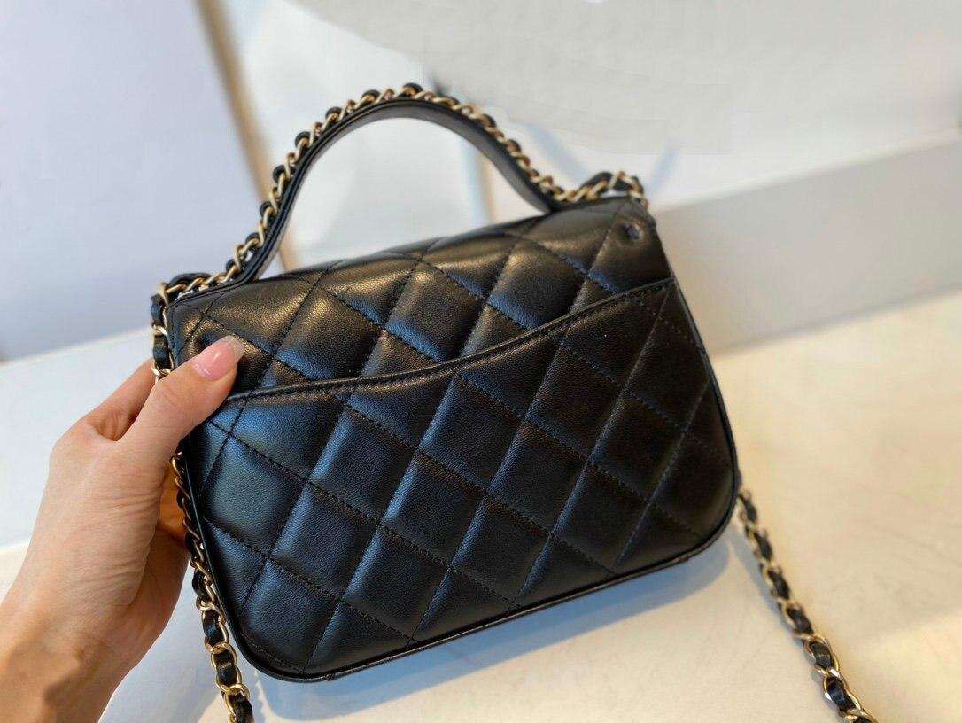 وصفت المرأة حقائب كتف 2020 جلد طبيعي جودة سميكة سلسلة معدنية الكتف المحافظ وحقيبة يد حقائب يد المرأة