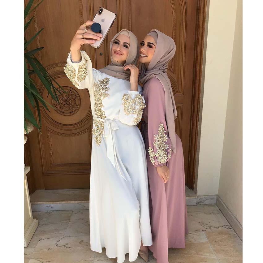 قفطان دبي عباية تركيا المرأة المسلمة الحجاب فستان إسلام قفطان ماروكين فساتين فيستدوس عيد مبارك الملابس الأوروبية Musulman