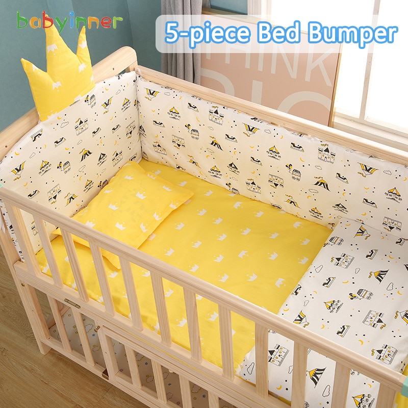 Babyinner 5 Pcs/Set Baby Bed Bumper Comfortable Crib Fence Protection Cartoon Newborn Cot Pillows Bedding Set Baby Room Decor