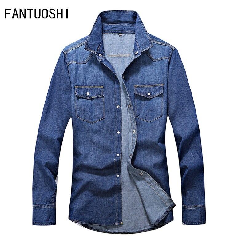 Mens Shirt 2019 Autumn New Cotton Denim Shirt Mens Long Sleeve Slim Solid Color Casual Single Breasted Shirt Mens clothing