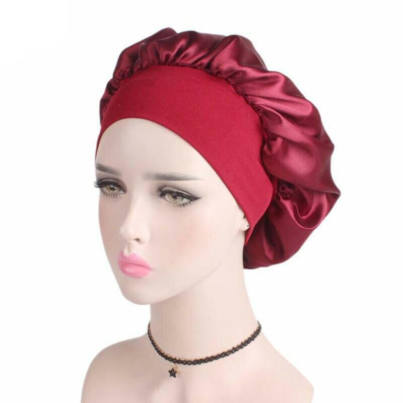 Cetim-forrado dormindo preguiçoso chapéu encaracolado menina longo cuidados com o cabelo senhora sólido cetim boné noite sono chuveiro lavagem de rosto tampão de seda turbante