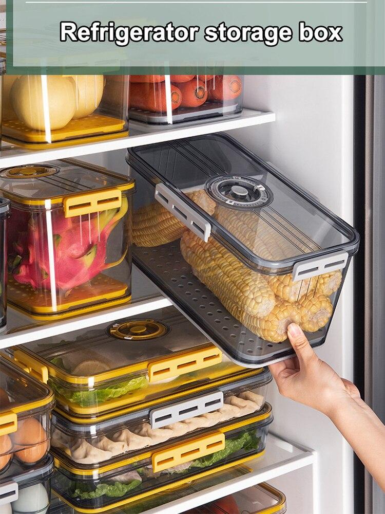 PET الثلاجة صندوق تخزين المواد الغذائية مع غطاء المطبخ منفصلة الفريزر حاوية الختم للخضراوات الفاكهة اللحوم الطازجة صندوق منظم
