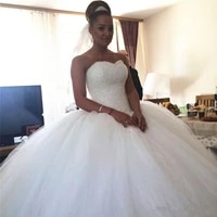 crystal beaded wedding dresses new luxury designer sweetheart tulle puffy ball gown lace up bridal gowns