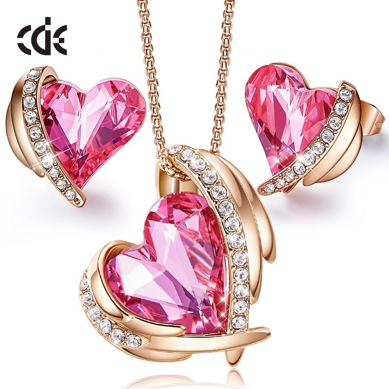 CDE-طقم مجوهرات نسائي ذهبي ، عقد وأقراط على شكل قلب مرصع بالكريستال الوردي ، هدية عيد الحب