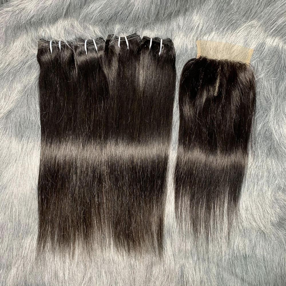 Esty Hair Himalaya Youth 4+1+1 Remy Straight Brazilian Human Hair Bundles Wholsale Packet Human Hair Weave Bundles With Closure