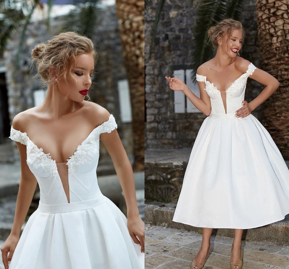 Vestido De novia corto De satén con escote en V, traje sencillo...