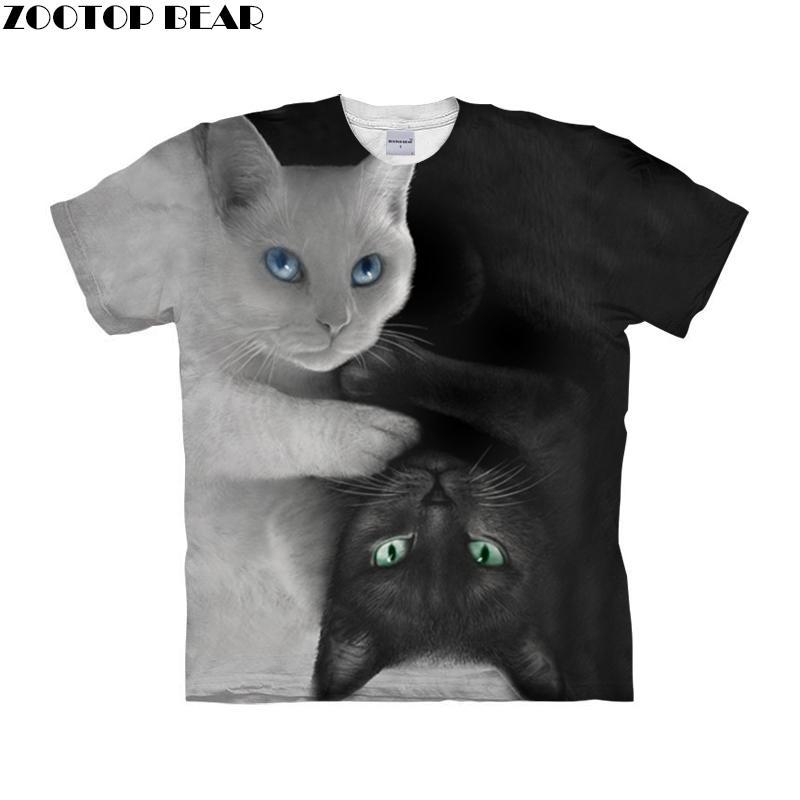 Camiseta de camiseta de hombre efecto 3D de gato Yin & Yang, camisetas de verano, camisetas casuales, camisetas de manga corta, ropa de calle con estampado animal, DropShip ZOOTOPBEAR