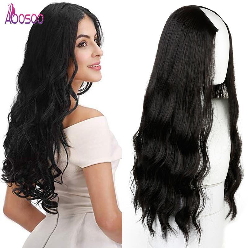 Long Wavy Culry U-Shaped Half Wig for Women 24