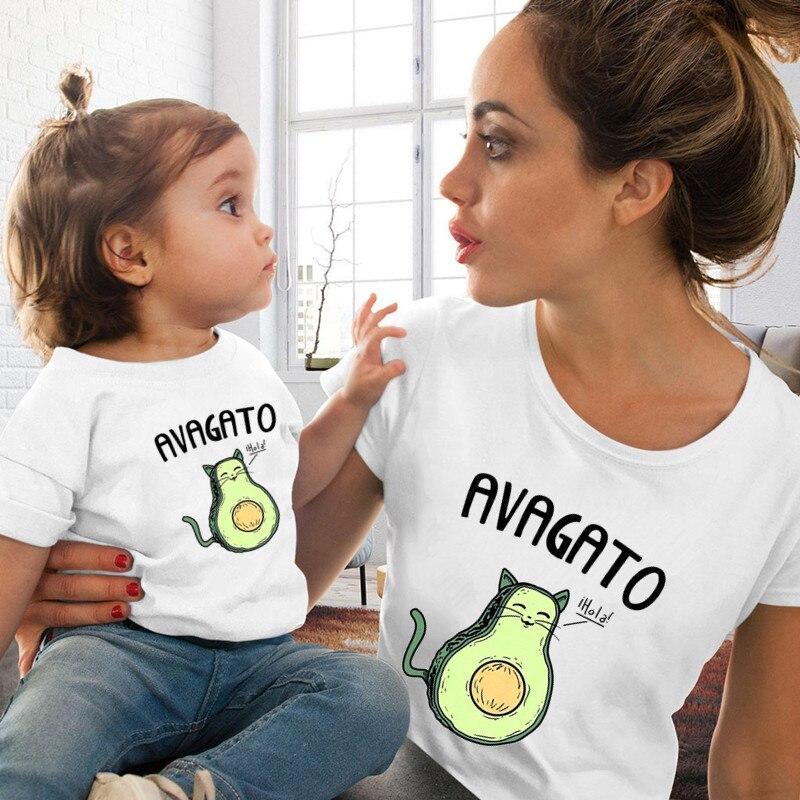 Harajuku Mom and Daughter Matching Family Clothes Soft Casual White Cartoon Avocado Print T-shirt Wo
