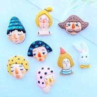 32pcs new cute mixed cartoon mini head portrait resin flat back diy scrapbook handicraft accessories k44