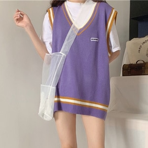 2020 Autumn Korean Style Stripe Patchwork Casual Loose V Neck Knit Sweater Vest Waistcoat Top Women Sleeveless Pullover