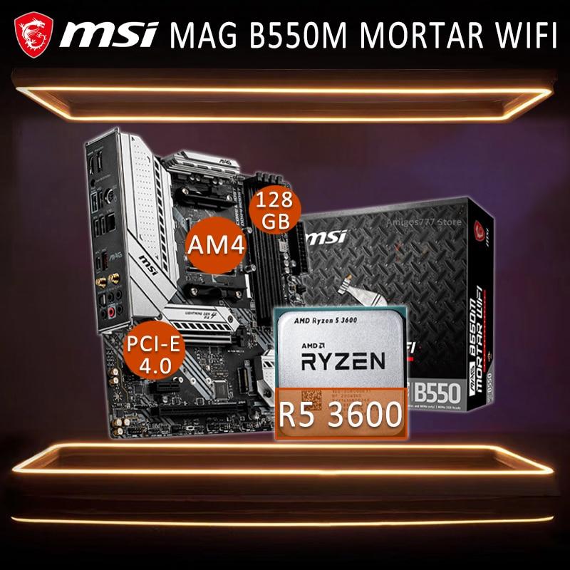 لوحة أم للألعاب طراز AM4 MSI MAG B550M مزودة بالواي فاي مع وحدة معالجة مركزية AMD Ryzen 3600 لوحة أم وحدة معالجة مركزية كاملة DDR4 AMD B550 لوحة ألعاب بلاسا-mdooe