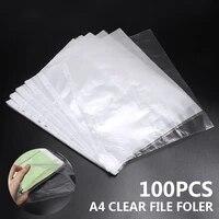 100pcsset a4 clear folder 11 holes loose leaf transparent paper storage bag documents sheet protector organizer documents files