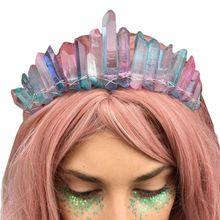 Bandeau Boho en Faux cristal brut   Tiara, couronne en Faux cristal brut, fait à la main, arc-en-ciel colorée Aura, 2020