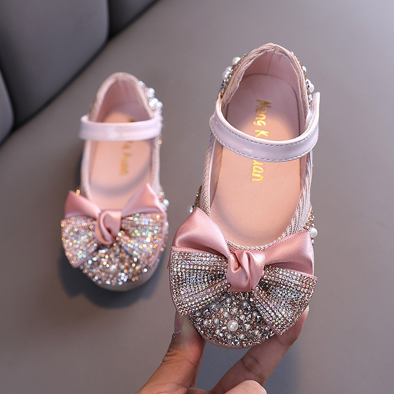New Children Leather Shoes Rhinestone Bow Princess Girls Party Dance Shoes Baby Student Flats Kids Performance Shoes D785