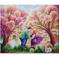 Peinture diamant fat lady  dessin anime  perceuse carree ronde  bricolage 5D  adorable baiser  rose  amour  broderie  point de croix  decor de maison N758