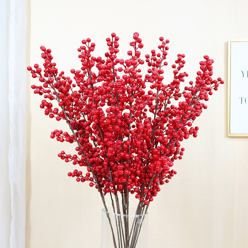 Envío Gratis fruta de imitación única facai fruta Navidad fruta roja cristal cerámica flor decoración de vajilla fruta acacia bean