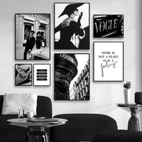 Affiche en Vogue toile de paysage de ville en noir et blanc  decoration murale exquise  decoration de chambre nordique  peinture de decoration de maison