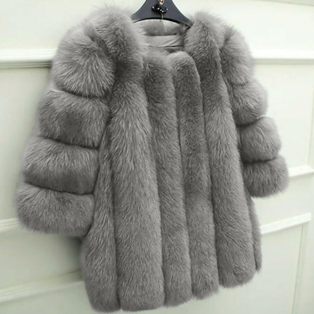 Elegante abrigo de mujer sólido cálido Sexy manga larga esponjoso prendas de vestir cuello redondo invierno fiesta corta Faux Fur moda citas diarias