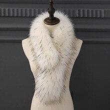 Imitación de piel de bufanda de piel de zorro pelo collar chal de mujer largo grueso y cálido bufanda imitación bufanda mapache