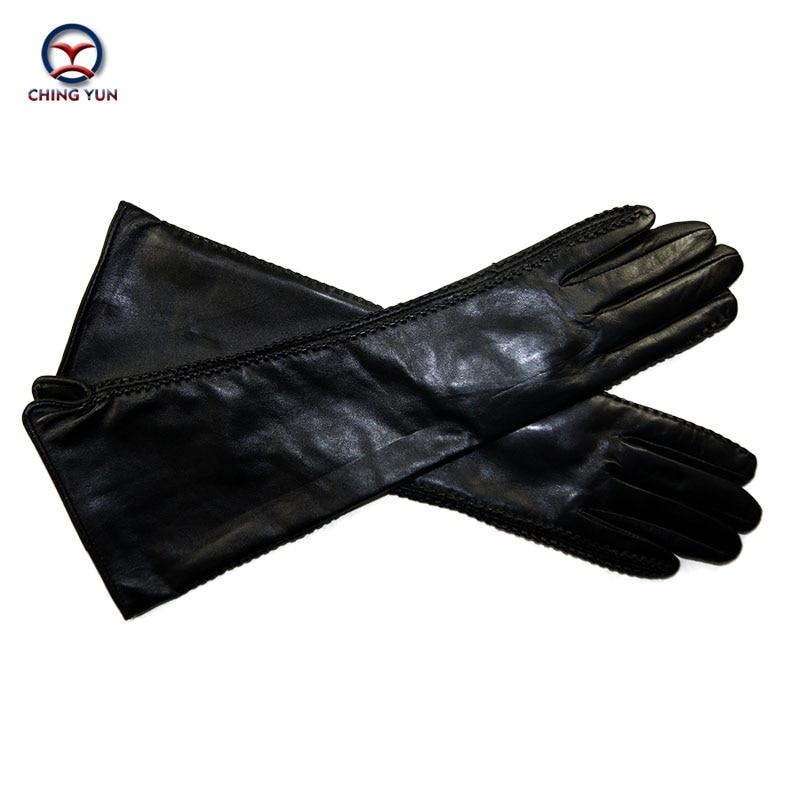 CHING YUN 2017 winter lady fashion sheepskin Arm sleeve women genuine leather mittens female long style Elbow Gloves 40cm