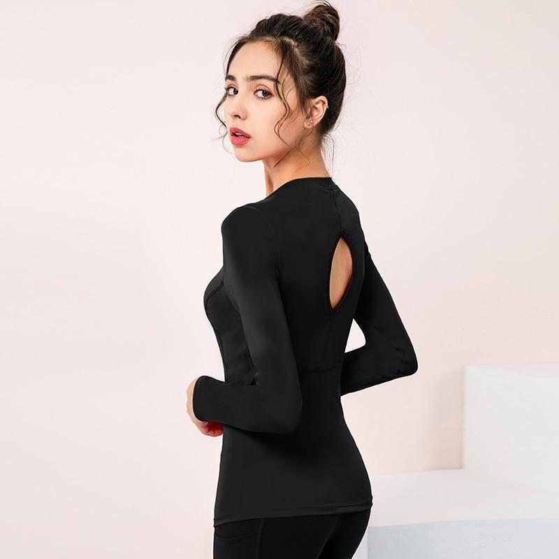 Женский укороченный топ с вырезами на спине, футболки для йоги с длинным рукавом, спортивные топы, дышащие рубашки для тренировок в тренажер...