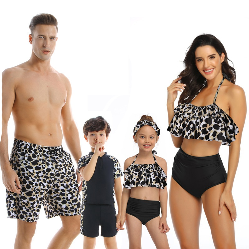 Family Matching Swimsuits Mother Daughter Bikini Mom Me Dad Son Girls Boys Swimwear Women Men Shorts Couples Beach Outfits