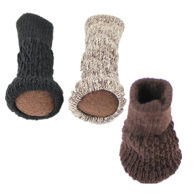 4PCS Knitted Chair Foot Cover Non-slip Table Legs Chair Legs Furniture Foot Socks Floor Protection Pads Moving Noise Reduction