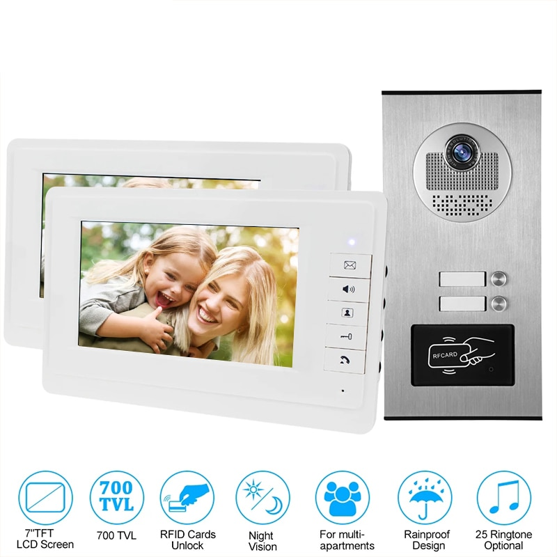 Wired Home 7 inch TFT Color Video Intercom Door Phone System RFID Camera Metal 700TVL with 2/3/4 Monitor for Multi Apartments enlarge