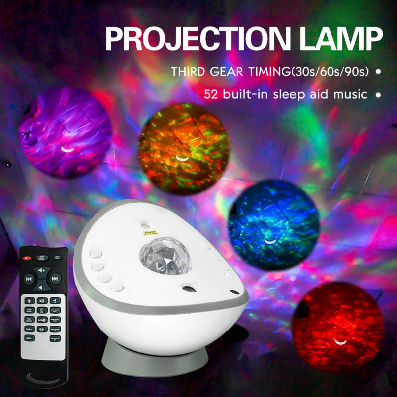 New Starry Sky Galaxy Projector Lamp USB Charging Bluetooth Music Night Light Water Wave Rotatable P