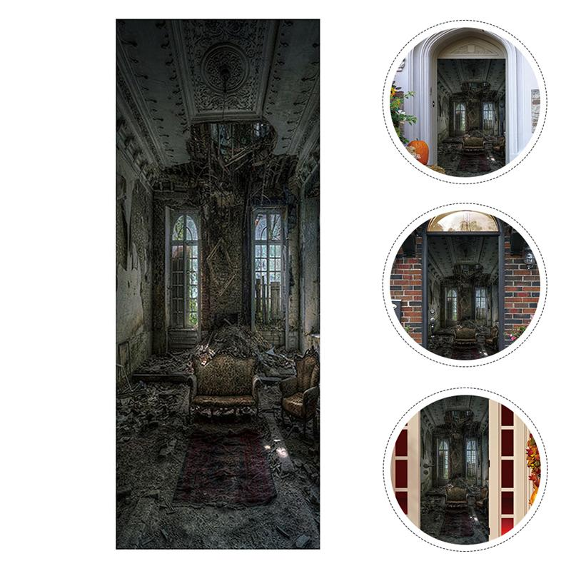 1 Set de pegatinas terroríficas, aterradoras, pegatinas para puerta de Halloween, pegatinas para pared de Halloween, papel tapiz para sofá antiguo para puerta de habitación de fiesta