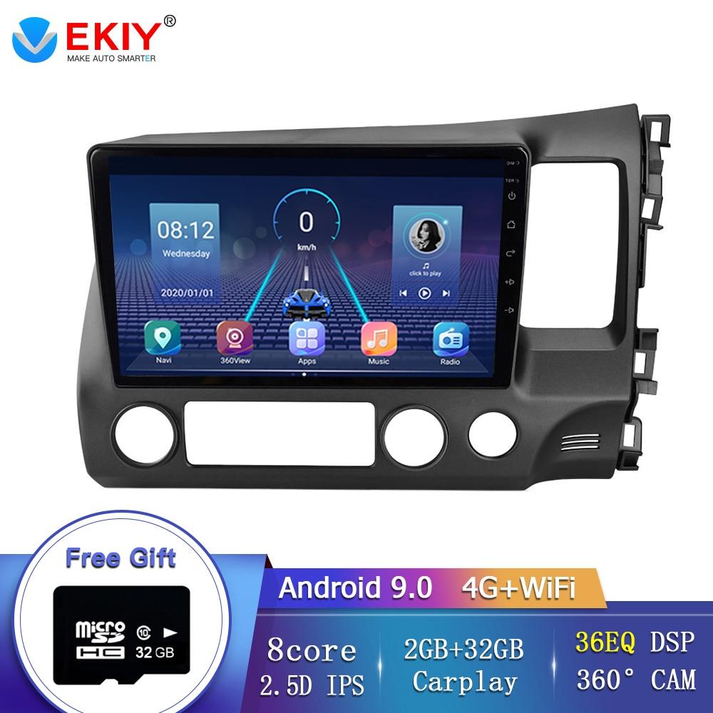 """Radio de coche EKIY 10,1 """"IPS Android 9,0 para Honda Civic 2006-2011, Dirección de coche derecha, enlace de espejo, Control de volante, cámara 360 BT"""
