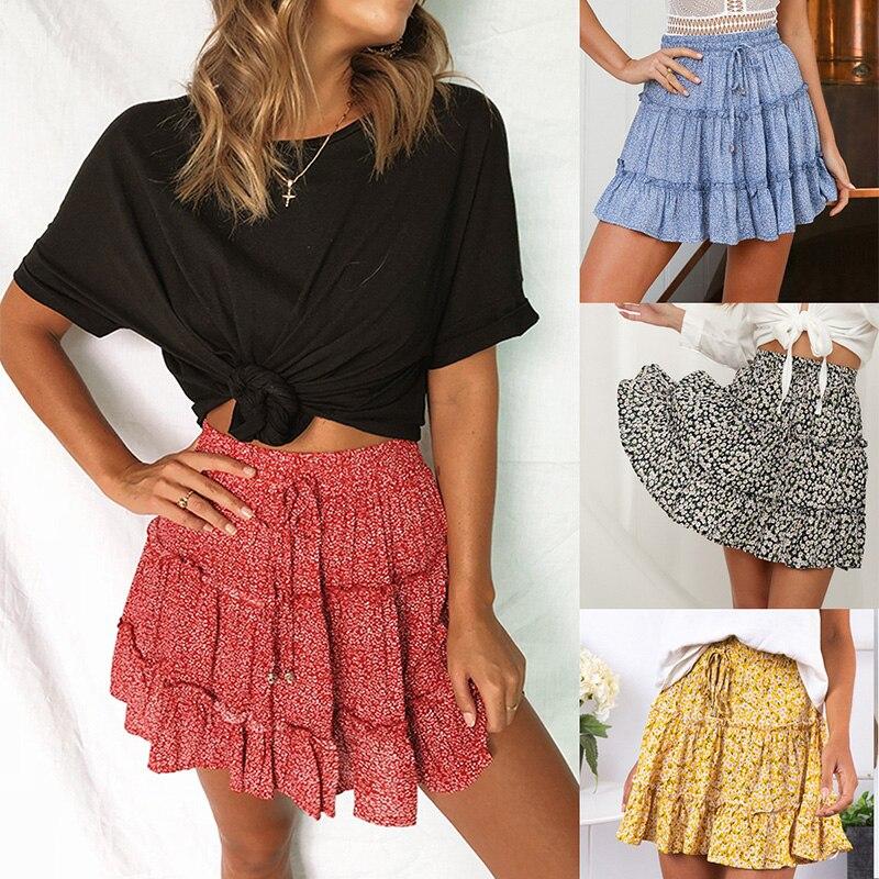 Сексуальная Женская модная юбка с оборками и высокой талией для женщин, юбка средней длины с цветочным рисунком, пляжные короткие мини юбки, новинка 2019