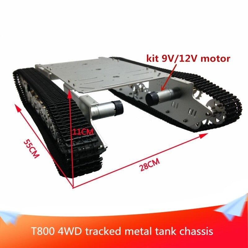 Plataforma de Chasis de coche de tanque de seguimiento de estructura sólida T800/carro de Robot de cruce de obstáculos con Motor de CC 4WD para la competencia de Robot