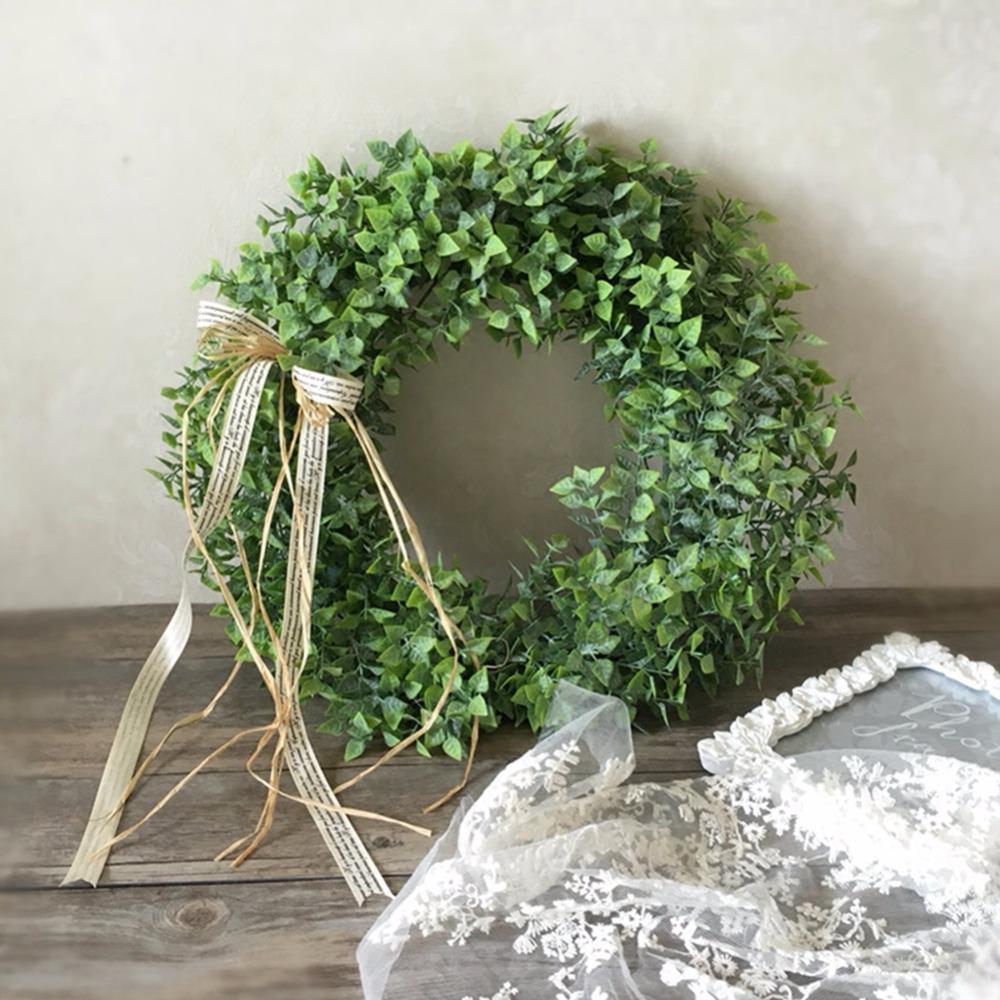 Artificial Leaf Wreath With Bow Door Hanging Wall Window Decoration Wreath Holiday Festival Wedding Decor