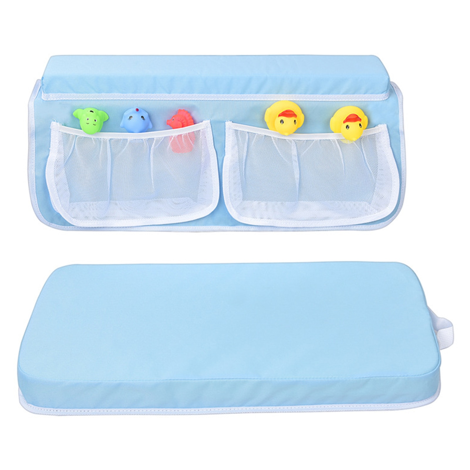 Baby Anti-slip Mat Bath Kneeler Elbow Rest Pad Set Kneeling Mat With 4 Pockets For Children Bathroom