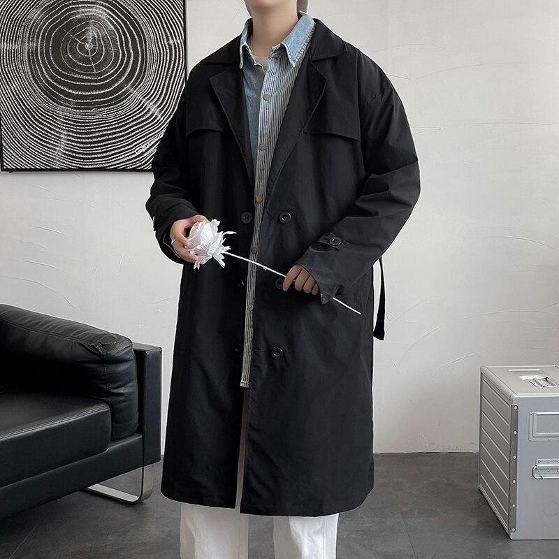 Осенний тренчкот, мужское модное повседневное длинное пальто, Мужская Корейская свободная ветровка большого размера, Мужская Черная/хаки в...