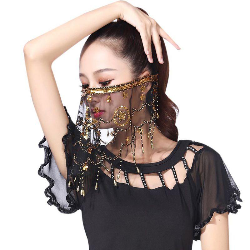 Las mujeres danza del vientre Tribal velo en la cara con accesorio para traje de Halloween con lentejuelas para ropa de baile Mujer