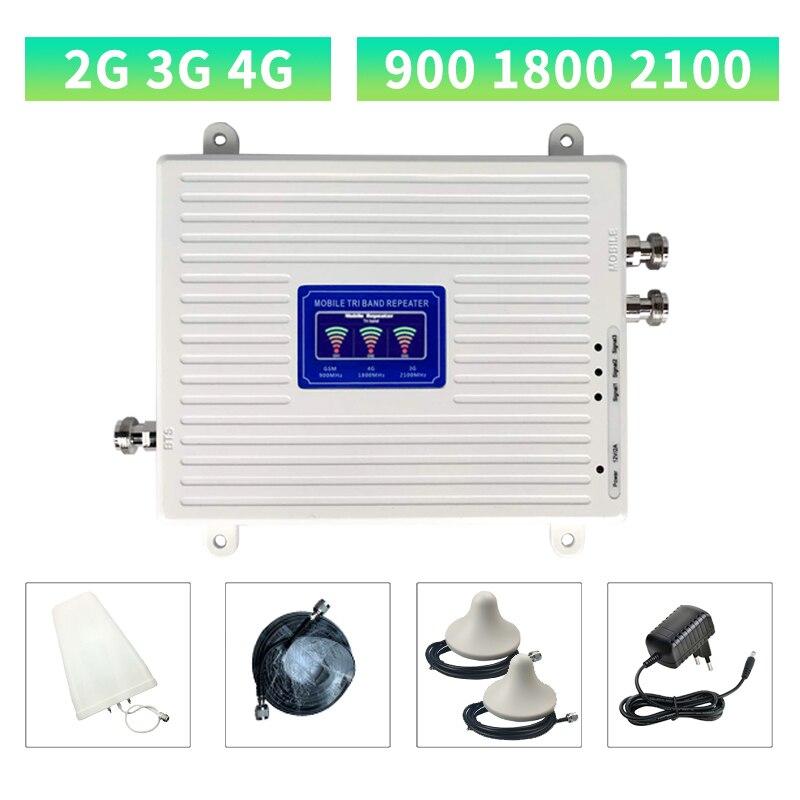 Ретранслятор сотовой связи GSM DCS WCDMA 900 1800 2100 трехдиапазонный 2G 3G 4G Усилитель сигнала Усилитель мобильного сигнала комплект из 2 внутренних ан...