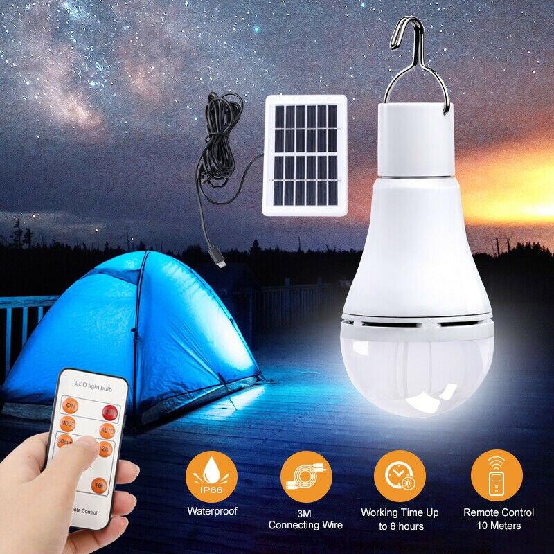 Bombilla Solar LED Para exteriores, lámpara de 9W con 5 modos de...